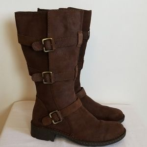 Born 3 Strap Brown Suede Boots 10